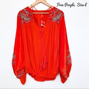 <Anthropologie> Free People Top Boho Style Size L